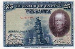 SPAIN 25 PESETAS 1928  P-74b  AUNC - [ 1] …-1931 : Primeros Billetes (Banco De España)