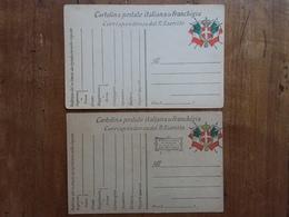 REGNO - 2 Cartoline Postali In Franchigia - Guerra '15/'18 - Non Viaggiate + Spese Postali - 1900-44 Victor Emmanuel III