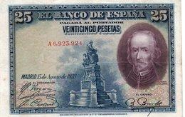 SPAIN 25 PESETAS 1928  P-74a  XF+++ - [ 1] …-1931 : Eerste Biljeten (Banco De España)