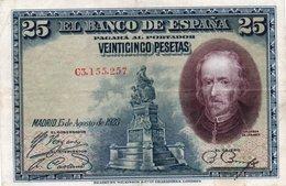SPAIN 25 PESETAS 1928  P-74a  XF+++ - [ 1] …-1931 : Primeros Billetes (Banco De España)