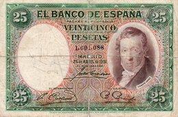 SPAIN 25 PESETAS 1931  P-81  CIRC. - [ 1] …-1931 : Primeros Billetes (Banco De España)
