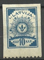 LETTLAND Latvia 1919 Michel 17 Perforated 9 3/4 At Bottom Margin * - Lettland