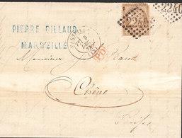 Lettre Type Cérès 30 C De MARSEILLE (2240) Du5 Dec 1872 Via CHENE En Suisse Transit GENEVE - 1849-1876: Periodo Clásico