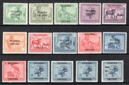 RUANDA URUNDI 62/76 MNH 1925 - B. Congo 1925 Opdruk Ruanda-Urundi - 1924-44: Mint/hinged