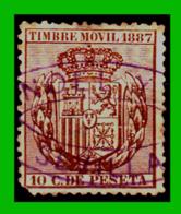ESPAÑA –  SELLO FISCAL RECIBOS ALFONSO XII 1887 - 10 CÉNTIMOS - Steuermarken/Dienstpost