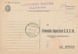 1940 FRANCHIGIA MARINA MILITARE  COMANDO MARINA SASENO + SASENO ISOLA GULLER - Posta Militare (PM)