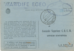 1942 FRANCHIGIA MARINA MILITARE  POSTA MILITARE 550 RODI + COMANDO DIFESA MM + MARIFIDE EGEO - 1900-44 Victor Emmanuel III
