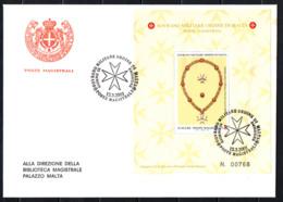 SMOM - 2001 - FOGGIA DELLE INSEGNE ATTUALI DELL'ORDINE - FOGLIETTO - SOUVENIR SHEET - FDC - Sovrano Militare Ordine Di Malta