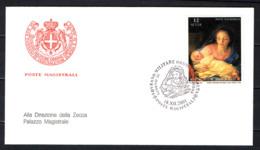 """SMOM - 2001 - NATALE: MADONNA COL BAMBINO - PARTICOLARE DEL DIPINTO """"ADORAZIONE DEI PASTORI"""" DI A.R. MENGS - FDC - Sovrano Militare Ordine Di Malta"""