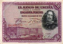 SPAIN 50 PESETAS 1928  P-75b  XF+ - 50 Pesetas