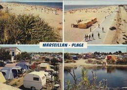 34. MARSEILLAN PLAGE..RARETÉ.  CARTE MULTI VUES. CAMPING ET BORD DU CANAL. PLAGE ET PROMENADE. ANNÉE 1973 + TEXTE - Marseillan