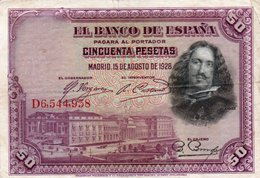 SPAIN 50 PESETAS 1928  P-75b  CIRC. - 50 Pesetas