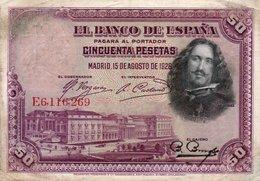 SPAIN 50 PESETAS 1928  P-75b  CIRC.  E 6116260 - 50 Pesetas