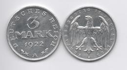 ALEMANIA - GERMANY - WEIMAR  3 Mark 1922A  SIN CIRCULAR - Zonder Classificatie