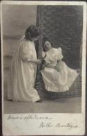 2 Fillettes- Jeunes Filles- Enfants, Chatouilles Avec Une Plume, écrite En 1904 - Scenes & Landscapes