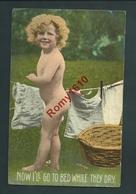 Petite Fille Blonde. Jour De Lessive!. Jolie Carte Anglaise. A. 374.    2 Scans - Scenes & Landscapes