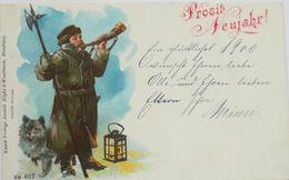 """""""Neujahr, Wächter, Laterne, Horn, Hund"""" 1900 ♥  - Nieuwjaar"""