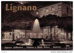 Lignano Sabbiadoro - Fontaine Et Hotel Milano - Nocturne - 1964 - Udine
