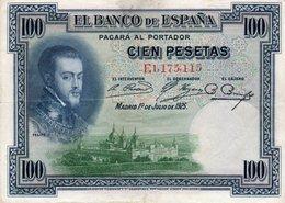 SPAIN 100 PESETAS 1925  P-69c  XF - [ 1] …-1931 : Prime Banconote (Banco De España)