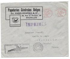1933 - BRUXELLES PAPETERIES GENERALES UTILISEZ LA POSTE AERIENNE FISNOEL RUE POSTE CHAMBERY - SUR ENVELOPPE - Marcophilie