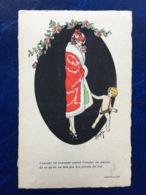 """Cpa--""""Jolie Jeune Femme Et Cupidon""""--(my Ref.1960) - Autres Illustrateurs"""