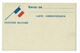 """Carte Correspondance """"Franchise Militaire"""" Drapeaux Français,  Vierge - Marcophilie (Lettres)"""
