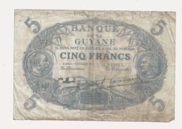 CA29 Billet De Banque De Guyane Française Type Cabasson 5F - Guyane Française