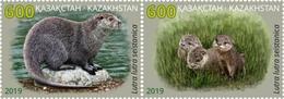 Kazakhstan 2019. Strip Of 2v River Otter (fauna) Mih.1158-1159Zd Mnh** - Kazakhstan