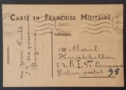 Carte De Franchise Militaire De Bayonne Vers Le 57e Régiment D'Infanterie Février 1940 - Marcophilie (Lettres)