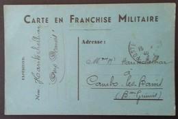Carte De Franchise Militaire Carton Bleu Vers Cambo-les-Bains Février 1940 - Marcophilie (Lettres)