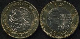 Mexico 20 Pesos. 2001 (Bi-Metallic. Coin KM#638. Unc) Octavio Paz - Mexico