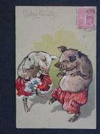 Ref5860 CPA Gaufrée Humour - Couple De Cochon Cake Walk - Danse 1905 - Humour