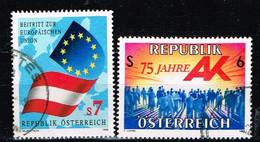 AUTRICHE / Oblitérés/Used/1995 - Adhésion UE / Travail -YVT N°1974,1977 / MI.N°2146,2147 - 1991-00 Used