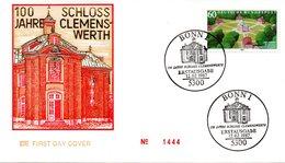 """BRD Schmuck-FDC """"100 Jahre Schloß Clemenswerth"""" Mi. 1312 ESSt 12.2.1987 BONN 1 - FDC: Sobres"""