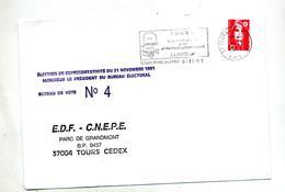 Lettre Flamme Tours Code Postale Entete Election - Marcophilie (Lettres)