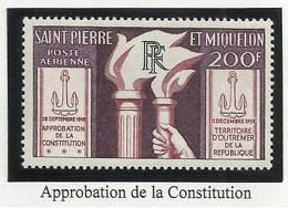 SAINT PIERRE ET MIQUELON SPM PA N° 26 Neuf Sans Charnière ** 1958 - Airmail