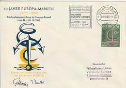 """Obl. Mécan. Illust. Sur Env. """"10 Jahre Europa-Marken"""" (Castrop-Rauxel, 462) Du 28-10-1966 - Storia Postale"""