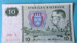 Billet Suède 10 Kronor - 1985 - Suède