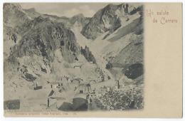 CPA Italie Italia Rara Un Saluto Da Carrara Cave Di Marmi Nei Dintorni Ravaccione Il Canal Bianco Vicina Massa Sarzana - Carrara