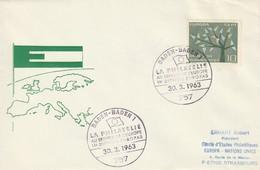 """Obl. Illust. Sur Env. """"La Philatélie Au Service De L'Europe"""" (Baden-Baden, 757) Du 30-03-1963 - Storia Postale"""
