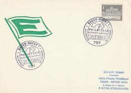 """Obl. Illust. Sur Env. """"La Philatélie Au Service De L'Europe"""" (Baden-Baden, 757) Du 21-03-1964 - Storia Postale"""