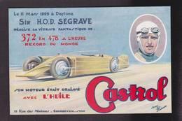 CPA Publicité Voiture Automobile Publicitaire Réclame Non Circulé Castrol Courbevoie Segrave Daytona Par Jean Pillod - Publicité