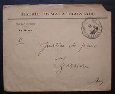 Matafelon (Ain) 1940, Cachet De La Mairie + Convoyeur Bourg à Bellegarde, Sur Lettre Pour Izernore - Marcophilie (Lettres)