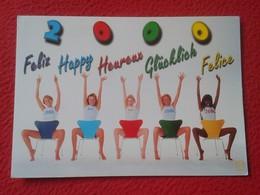 SPAIN POSTAL POST CARD AÑO NUEVO NEW YEAR 2000 FELIZ HAPPY HEUREUX GLÜCKLICH FELICE MUJERES EN SILLAS COSTA SHOW WOMEN.. - Pin-Ups