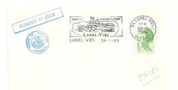 HERAULT - Dépt N° 34 = LUNEL VIEL 1989 =  FLAMME Type II = SECAP Illustrée Thème VIN ' Archéologie, Muscat ' 1er JOUR - Marcophilie (Lettres)