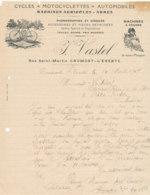 FA  1884 -  FACTURE    CYCLES MOTOCYCLETTES AUTOMOBILES  ARMES  J. VASTELO  CAUMONT L'EVENTE   CALVADOS - Francia