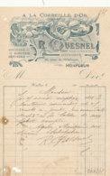 FA  1885 -  FACTURE    A LA CORBELLE D'OR HORLOGERIE BIJOUTERIE R. QUESNEL  HONFLEUR    CALVADOS - Francia