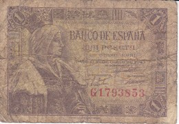 BILLETE DE ESPAÑA DE 1 PTA DEL 15/06/1945 ISABEL LA CATÓLICA SERIE G (BANK NOTE) - [ 3] 1936-1975 : Regency Of Franco