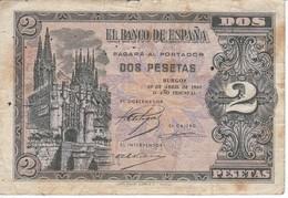 BILLETE DE ESPAÑA DE 2 PTAS  DEL AÑO 1938 SERIE M CALIDAD BC  (BANKNOTE) - [ 3] 1936-1975 : Regency Of Franco