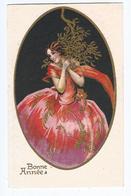 Femme  Bonne Année   CPSM  Dos Divisé  Ecrite    Ed Degami Italie - 1900-1949